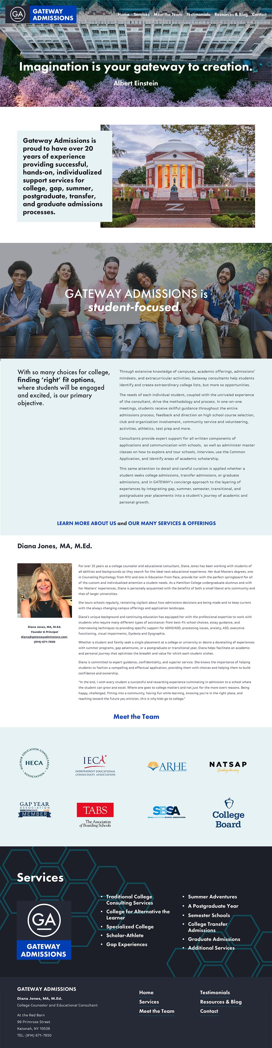 Gateway Admissions website